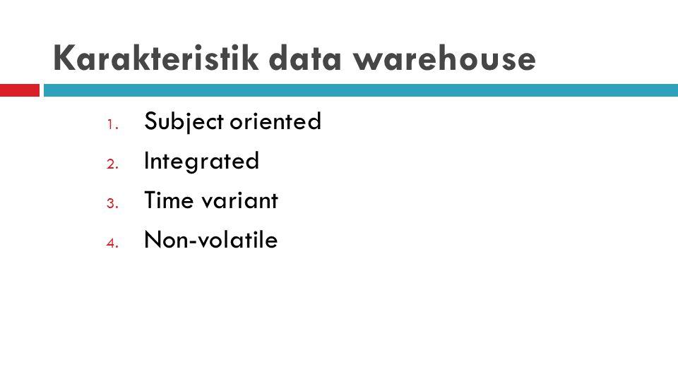 Karakteristik data warehouse 1. Subject oriented 2. Integrated 3. Time variant 4. Non-volatile