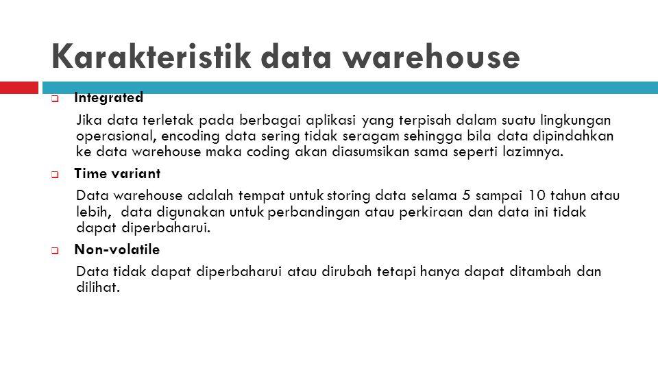 Karakteristik data warehouse  Integrated Jika data terletak pada berbagai aplikasi yang terpisah dalam suatu lingkungan operasional, encoding data se