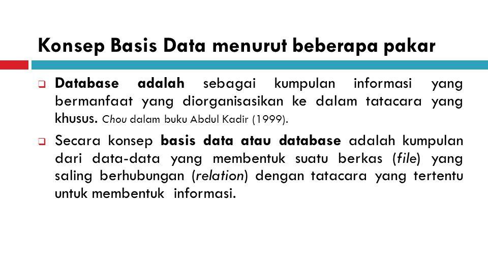 Konsep Basis Data menurut beberapa pakar  Database adalah sebagai kumpulan informasi yang bermanfaat yang diorganisasikan ke dalam tatacara yang khusus.