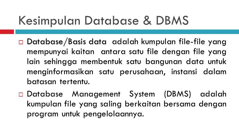 Kesimpulan Database & DBMS  Database/Basis data  Database/Basis data adalah kumpulan file-file yang mempunyai kaitan antara satu file dengan file yang lain sehingga membentuk satu bangunan data untuk menginformasikan satu perusahaan, instansi dalam batasan tertentu.