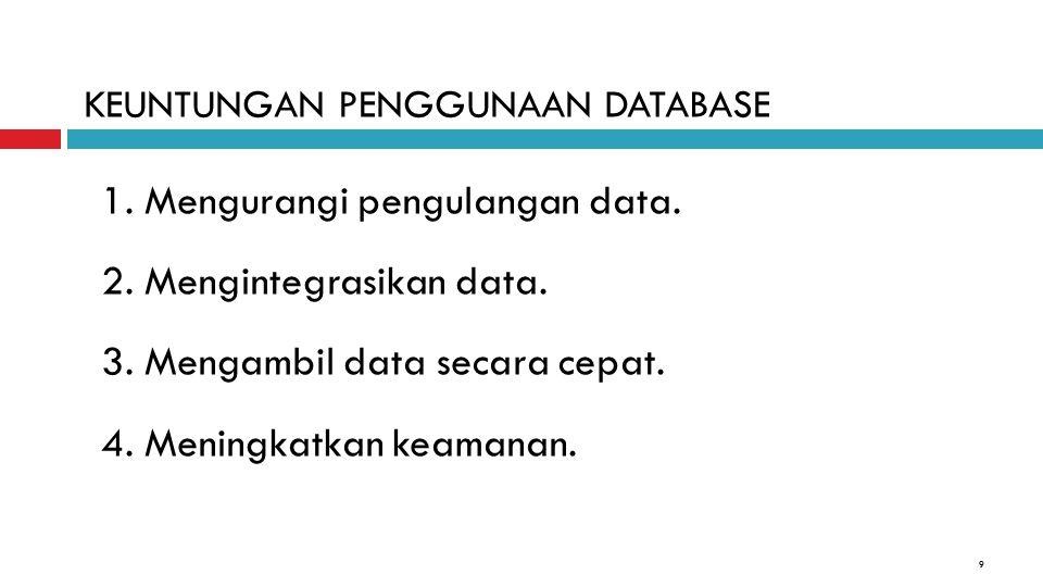 9 1. Mengurangi pengulangan data. 2. Mengintegrasikan data. 3. Mengambil data secara cepat. 4. Meningkatkan keamanan. KEUNTUNGAN PENGGUNAAN DATABASE