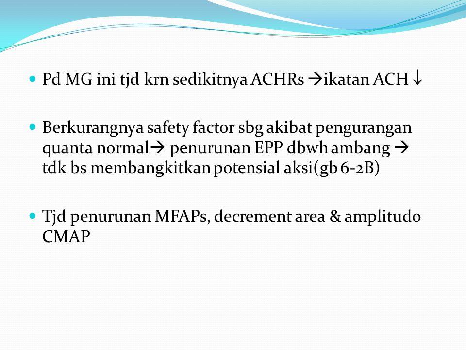 Pd MG ini tjd krn sedikitnya ACHRs  ikatan ACH  Berkurangnya safety factor sbg akibat pengurangan quanta normal  penurunan EPP dbwh ambang  tdk bs membangkitkan potensial aksi(gb 6-2B) Tjd penurunan MFAPs, decrement area & amplitudo CMAP