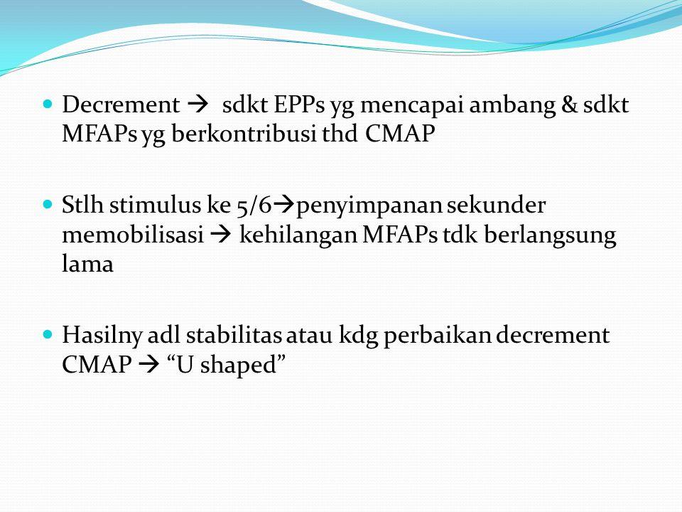 Decrement  sdkt EPPs yg mencapai ambang & sdkt MFAPs yg berkontribusi thd CMAP Stlh stimulus ke 5/6  penyimpanan sekunder memobilisasi  kehilangan MFAPs tdk berlangsung lama Hasilny adl stabilitas atau kdg perbaikan decrement CMAP  U shaped
