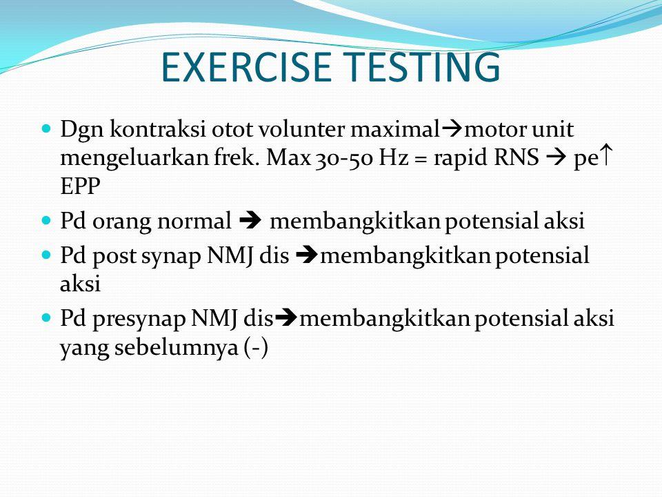 EXERCISE TESTING Dgn kontraksi otot volunter maximal  motor unit mengeluarkan frek. Max 30-50 Hz = rapid RNS  pe  EPP Pd orang normal  membangkitk