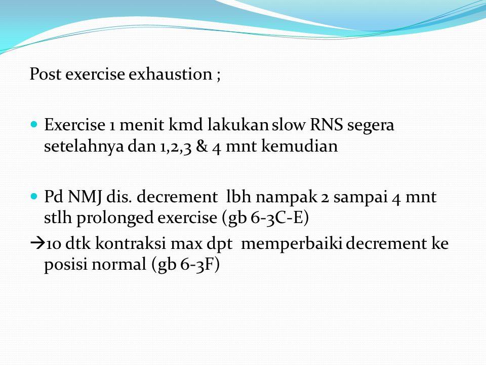Post exercise exhaustion ; Exercise 1 menit kmd lakukan slow RNS segera setelahnya dan 1,2,3 & 4 mnt kemudian Pd NMJ dis.