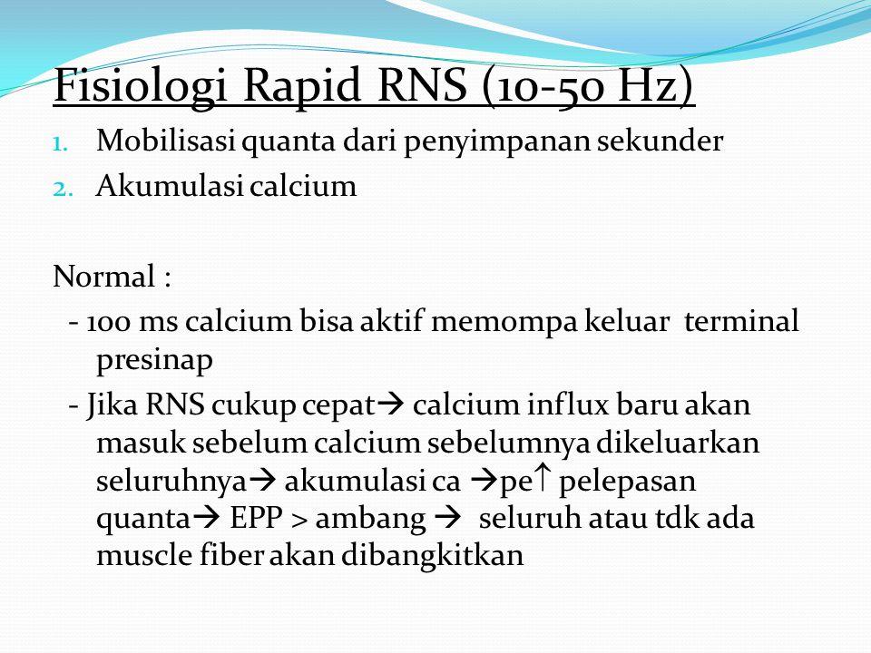 Dgn 3-Hz RNS, CMAP terendah biasanya di 3&4 Stimulasi ke 5&6 membaik krn mulai resuplai Abnormal jika decrement >10% Dgn rapid RNS, tertinggi setelah 5-10 dtk dibandingkan baseline CMAP Increment 40% pada pseudofacilitation Increment >100% pada pre synap NMJ dis.