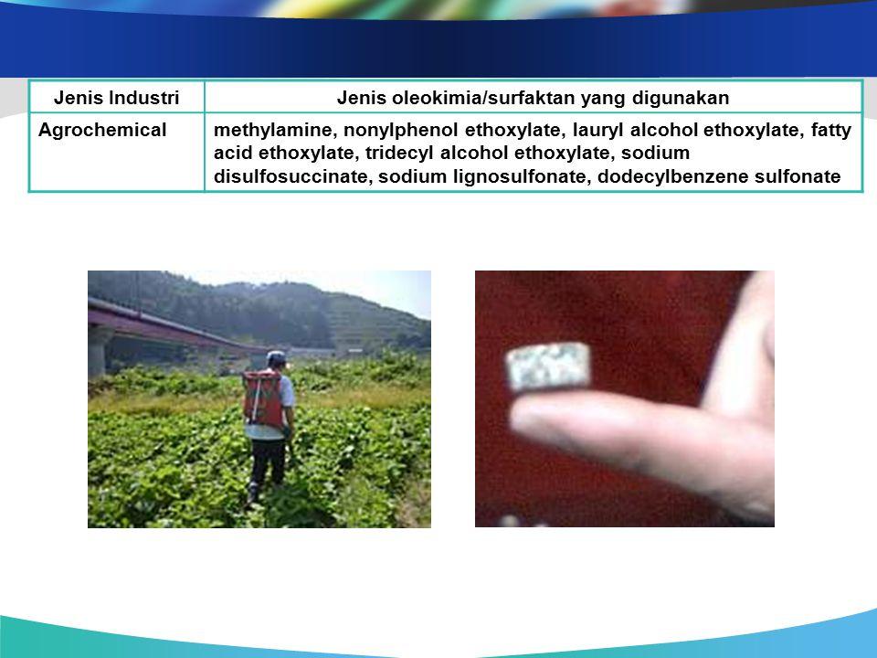 Jenis IndustriJenis oleokimia/surfaktan yang digunakan Agrochemicalmethylamine, nonylphenol ethoxylate, lauryl alcohol ethoxylate, fatty acid ethoxyla