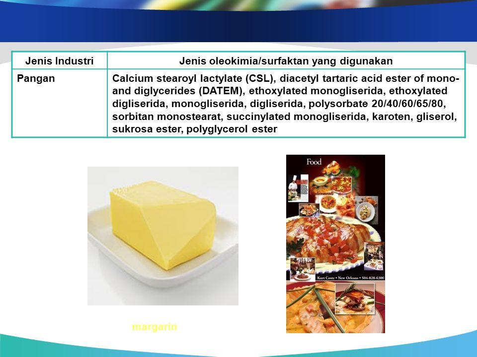 Jenis IndustriJenis oleokimia/surfaktan yang digunakan PanganCalcium stearoyl lactylate (CSL), diacetyl tartaric acid ester of mono- and diglycerides