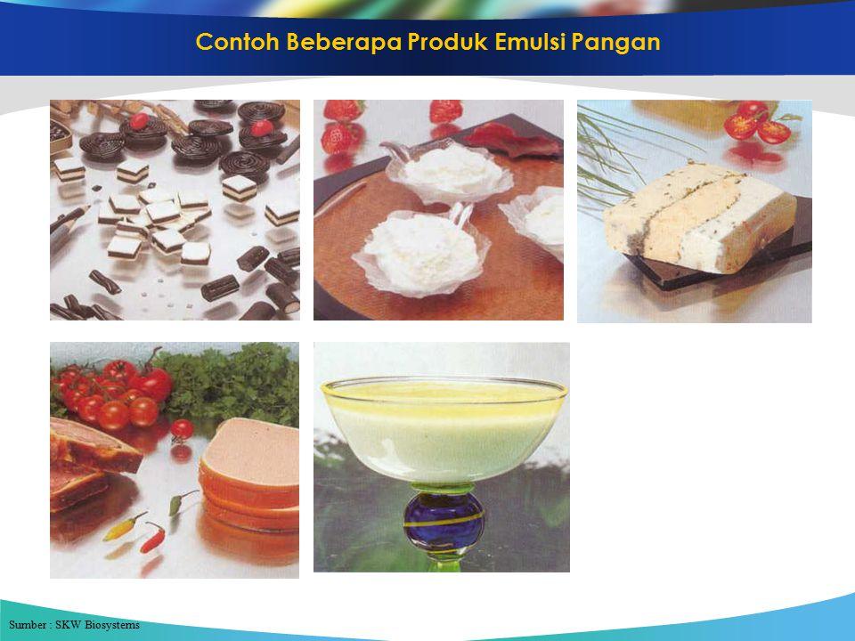 Contoh Beberapa Produk Emulsi Pangan Sumber : SKW Biosystems