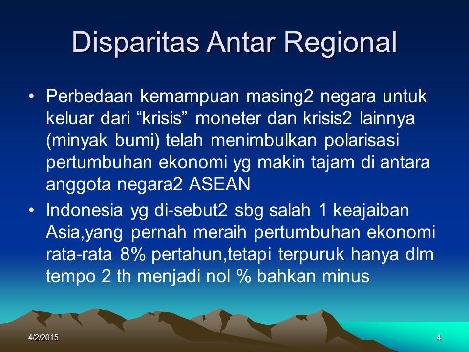 Krisis di Indonesia Sejak terjadinya krisis di Asia yg dipicu oleh krisis nilai bath Thailand, rupiah Indonesia bahkan telah kehilangan 70% nilainya dibanding sebelumnya Pertumbuhan negatif GDP dari 15,3% tahun 1988 menjadi minus (-3,4%) tahun 1999 Angka Inflasi sudah mendekati 80%.