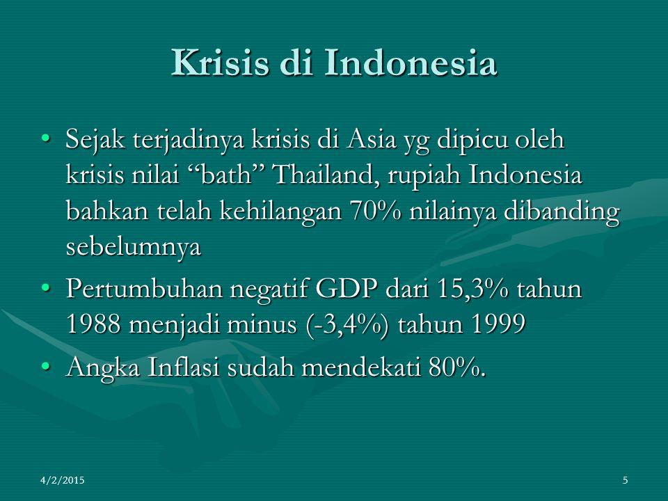 """Krisis di Indonesia Sejak terjadinya krisis di Asia yg dipicu oleh krisis nilai """"bath"""" Thailand, rupiah Indonesia bahkan telah kehilangan 70% nilainya"""