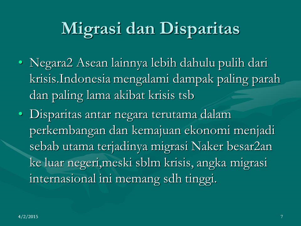 Migrasi dan Disparitas Negara2 Asean lainnya lebih dahulu pulih dari krisis.Indonesia mengalami dampak paling parah dan paling lama akibat krisis tsbN