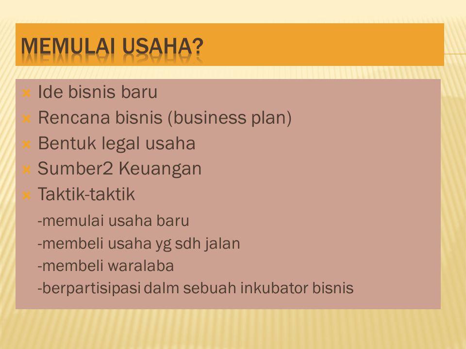  Ide bisnis baru  Rencana bisnis (business plan)  Bentuk legal usaha  Sumber2 Keuangan  Taktik-taktik -memulai usaha baru -membeli usaha yg sdh jalan -membeli waralaba -berpartisipasi dalm sebuah inkubator bisnis