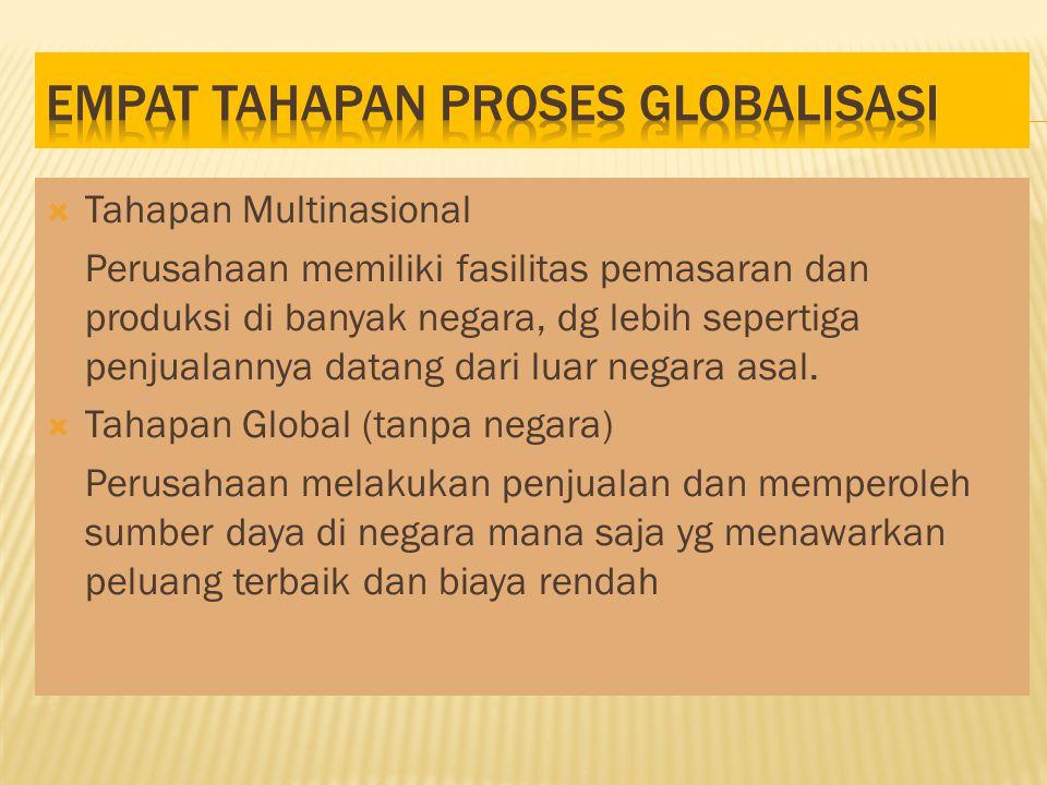  Tahapan Multinasional Perusahaan memiliki fasilitas pemasaran dan produksi di banyak negara, dg lebih sepertiga penjualannya datang dari luar negara asal.