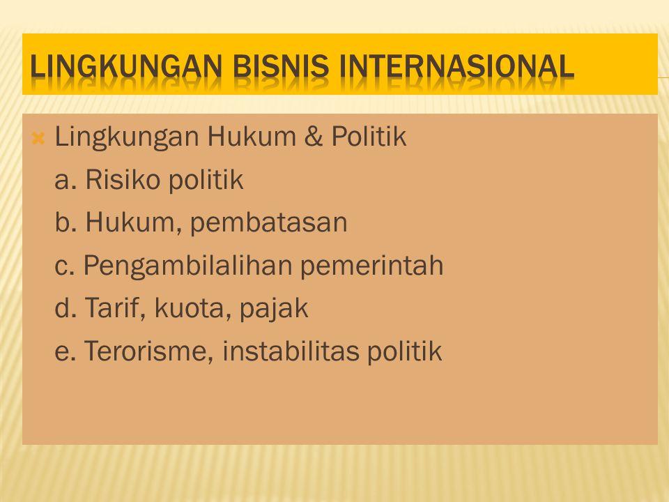  Lingkungan Hukum & Politik a.Risiko politik b. Hukum, pembatasan c.