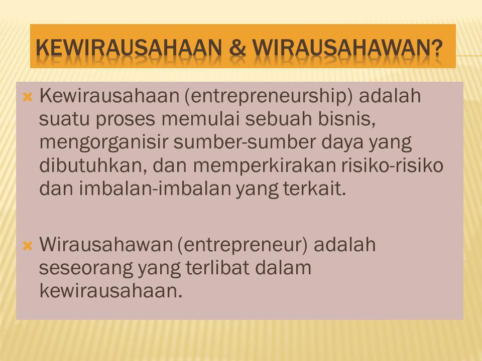  Kewirausahaan (entrepreneurship) adalah suatu proses memulai sebuah bisnis, mengorganisir sumber-sumber daya yang dibutuhkan, dan memperkirakan risiko-risiko dan imbalan-imbalan yang terkait.
