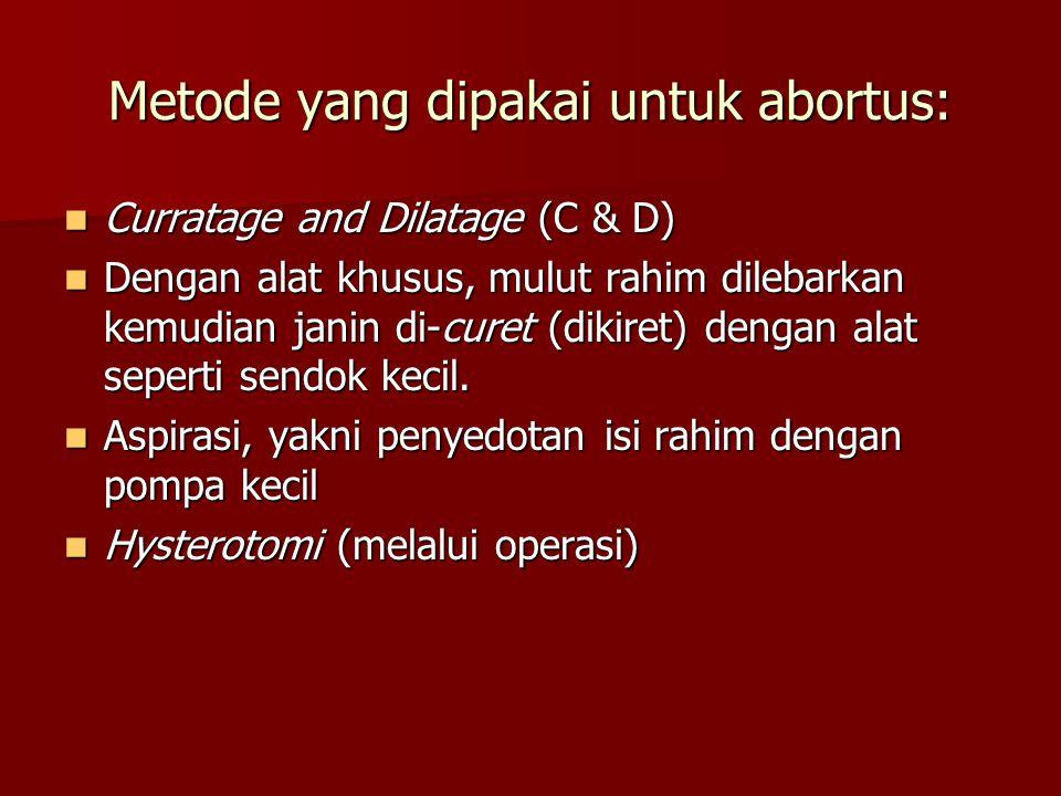 Beberapa faktor yang mendorong seorang dokter melakukan Aborsi: Indikasi medis, yaitu seorang dokter menggugurkan kandungan seorang ibu, karena dalam pandangannya nyawa wanita (ibu) yang bersangkutan tidak dapat tertolong bila kandungannya dipertahankan.