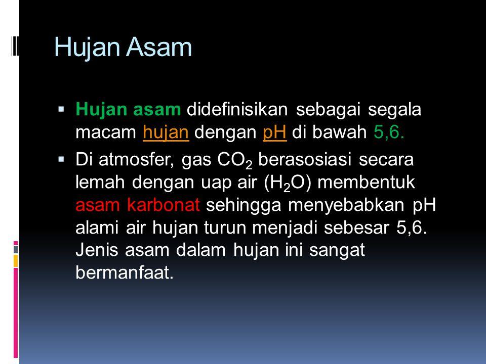 Hujan Asam (lanjutan )  Hujan asam disebabkan oleh belerang (sulfur) yang merupakan pengotor dalam bahan bakar fosil serta nitrogen di udara yang bereaksi dengan oksigen membentuk sulfur dioksida dan nitrogen oksida