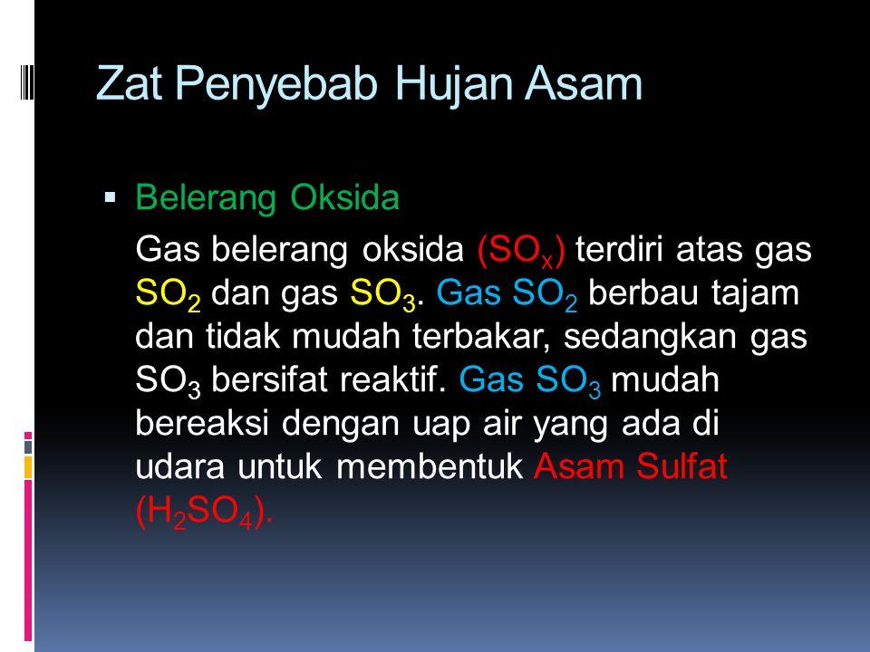 Zat Penyebab Hujan Asam  Belerang Oksida Gas belerang oksida (SO x ) terdiri atas gas SO 2 dan gas SO 3. Gas SO 2 berbau tajam dan tidak mudah terbak