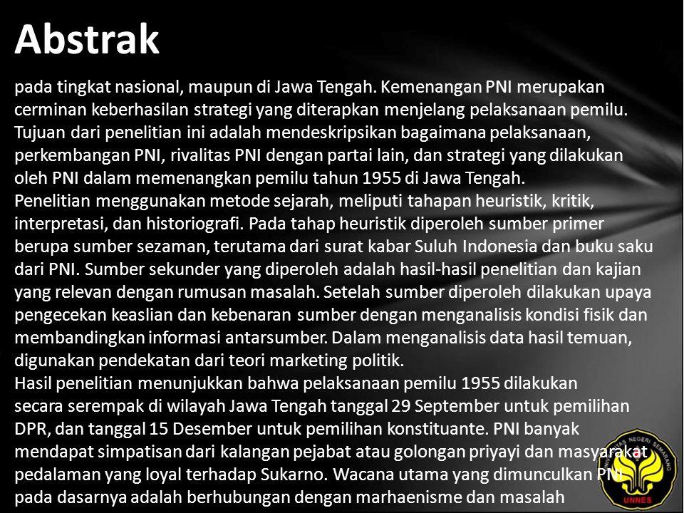Abstrak pada tingkat nasional, maupun di Jawa Tengah.