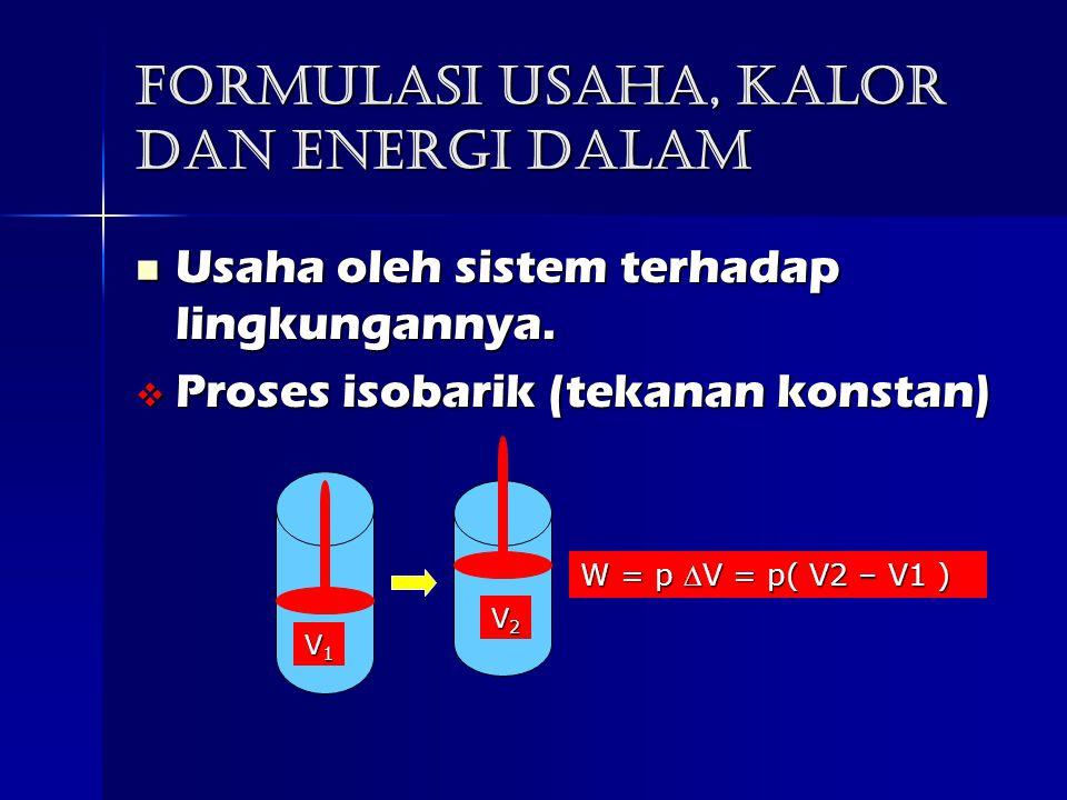 Formulasi usaha, kalor dan Energi dalam Usaha oleh sistem terhadap lingkungannya.