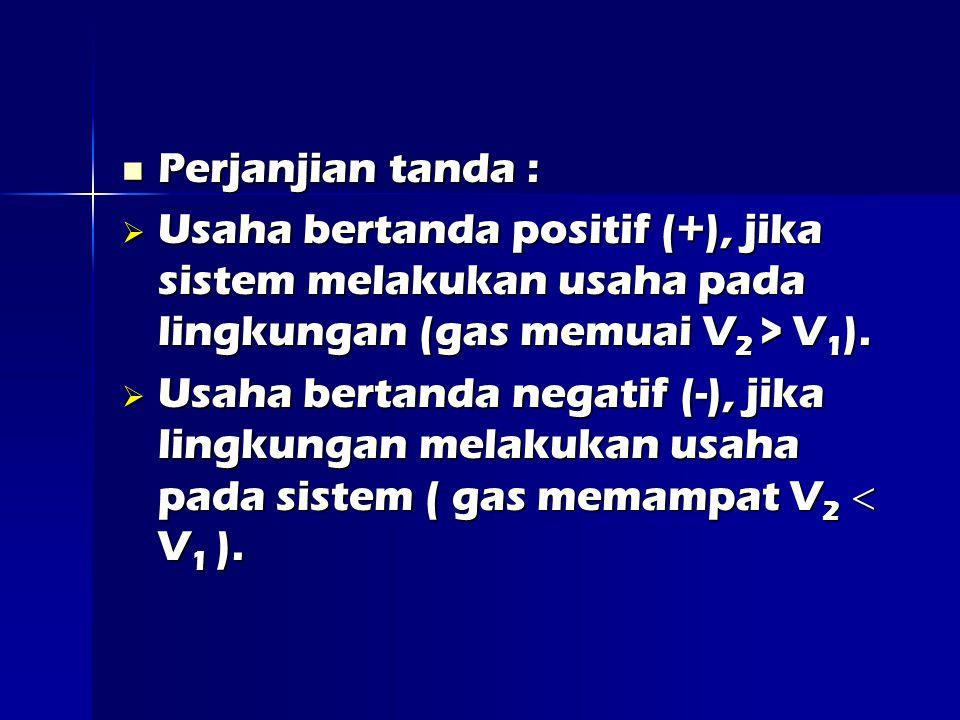 Perjanjian tanda : Perjanjian tanda :  Usaha bertanda positif (+), jika sistem melakukan usaha pada lingkungan (gas memuai V 2 > V 1 ).
