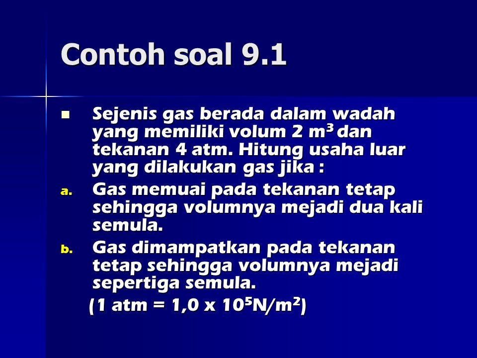 Contoh soal 9.1 Sejenis gas berada dalam wadah yang memiliki volum 2 m 3 dan tekanan 4 atm.