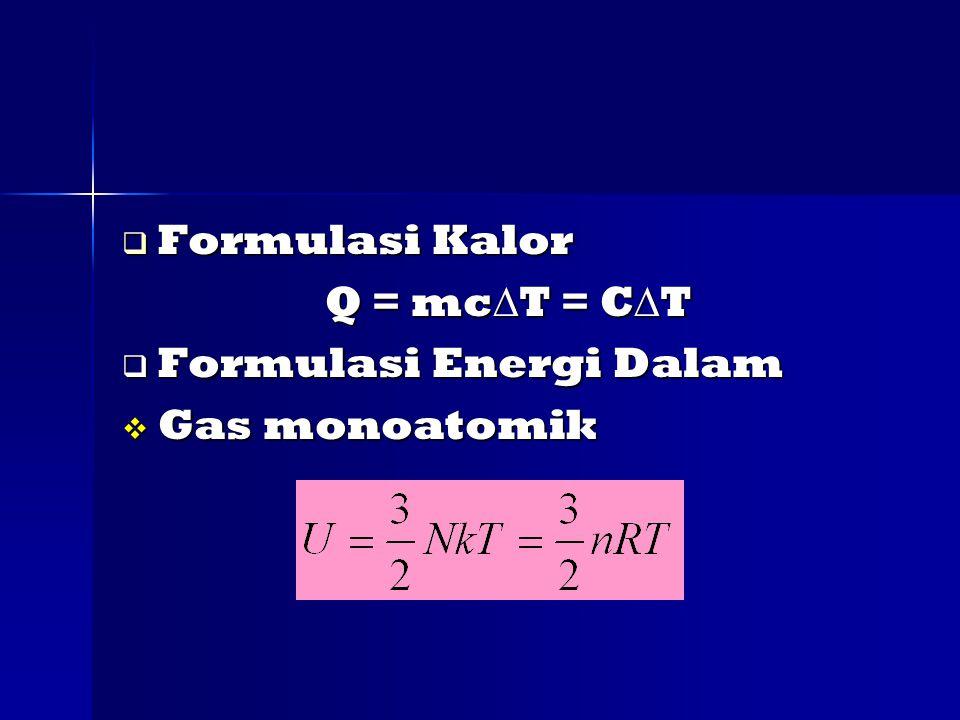  Formulasi Kalor Q = mc  T = C  T Q = mc  T = C  T  Formulasi Energi Dalam  Gas monoatomik