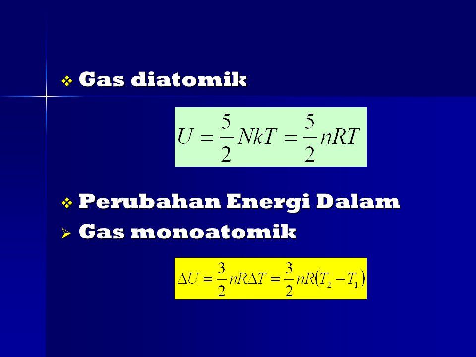  Gas diatomik  Perubahan Energi Dalam  Gas monoatomik