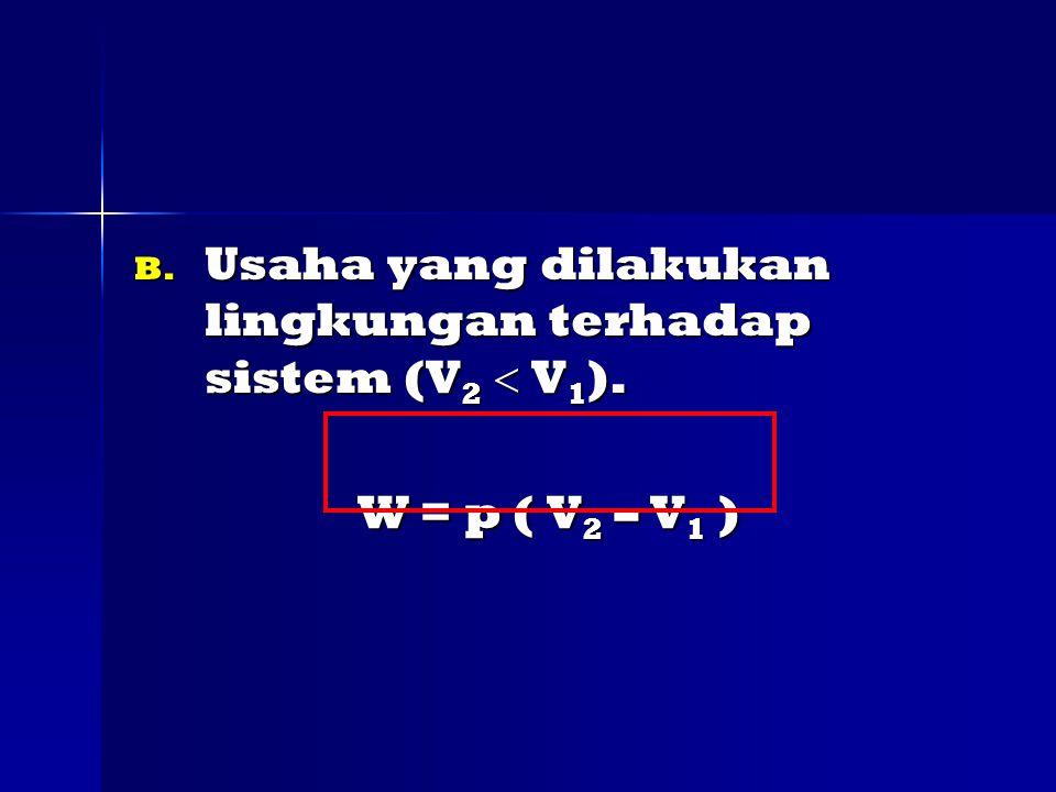 B.Usaha yang dilakukan lingkungan terhadap sistem (V 2  V 1 ).