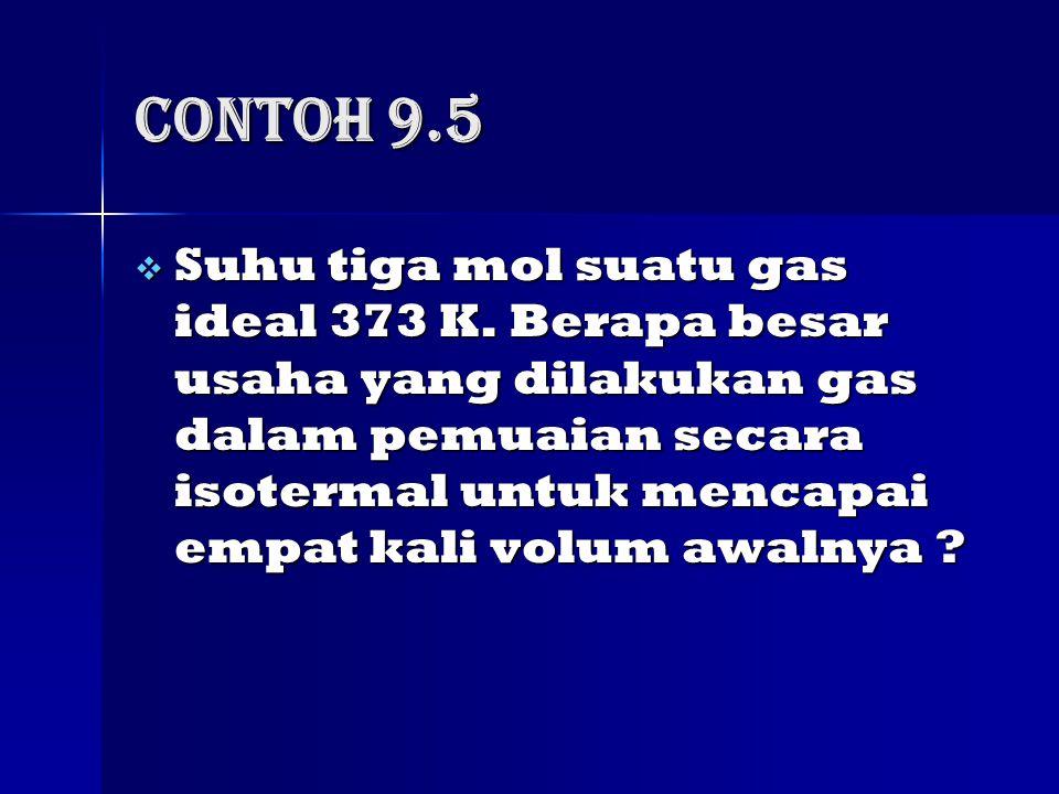 Contoh 9.5  Suhu tiga mol suatu gas ideal 373 K.