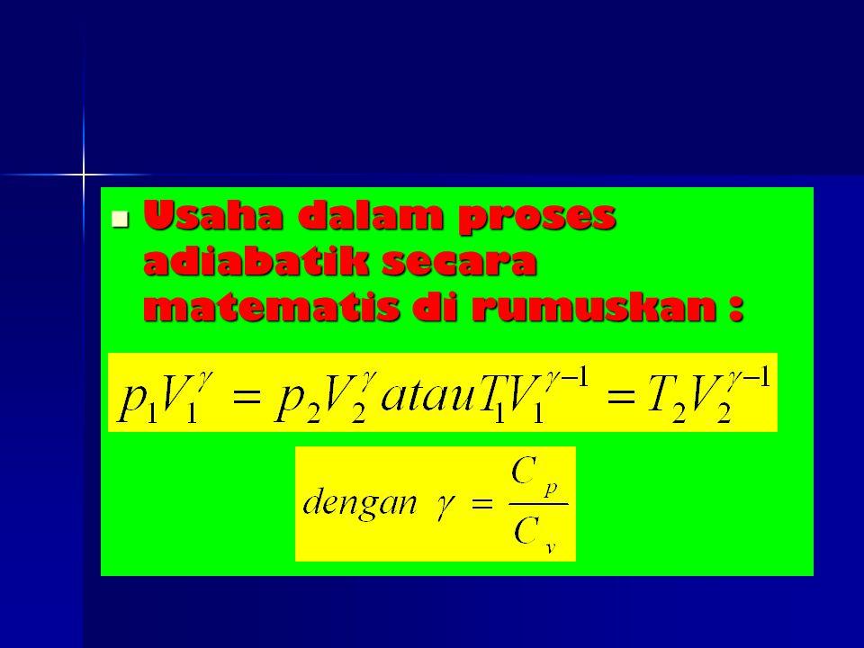 Usaha dalam proses adiabatik secara matematis di rumuskan : Usaha dalam proses adiabatik secara matematis di rumuskan :