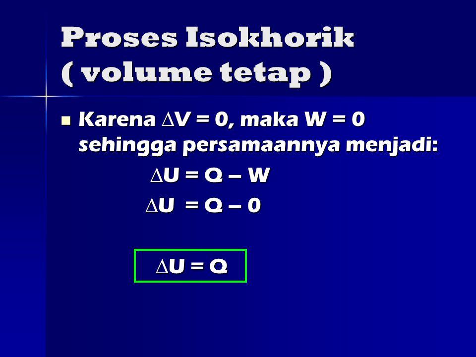 Proses Isokhorik ( volume tetap ) Karena  V = 0, maka W = 0 sehingga persamaannya menjadi: Karena  V = 0, maka W = 0 sehingga persamaannya menjadi:  U = Q – W  U = Q – W  U = Q – 0  U = Q – 0  U = Q  U = Q