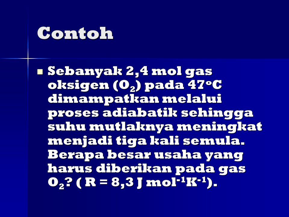 Contoh Sebanyak 2,4 mol gas oksigen (O 2 ) pada 47 o C dimampatkan melalui proses adiabatik sehingga suhu mutlaknya meningkat menjadi tiga kali semula.