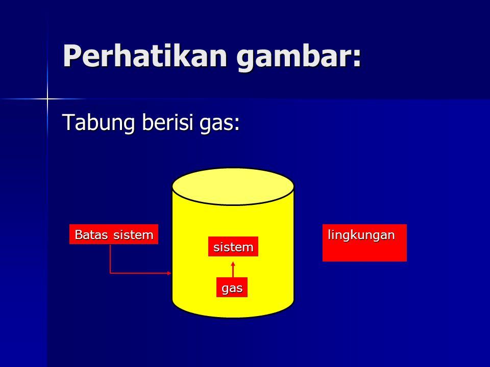 Perhatikan gambar: Tabung berisi gas: lingkungan gas Batas sistem sistem