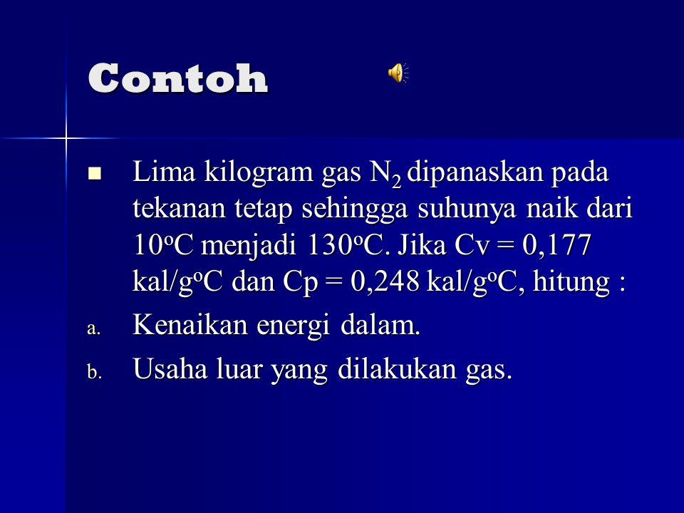 Contoh Lima kilogram gas N 2 dipanaskan pada tekanan tetap sehingga suhunya naik dari 10 o C menjadi 130 o C.