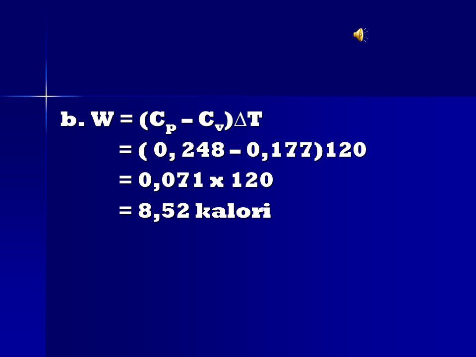 b. W = (C p – C v )  T = ( 0, 248 – 0,177)120 = ( 0, 248 – 0,177)120 = 0,071 x 120 = 0,071 x 120 = 8,52 kalori = 8,52 kalori