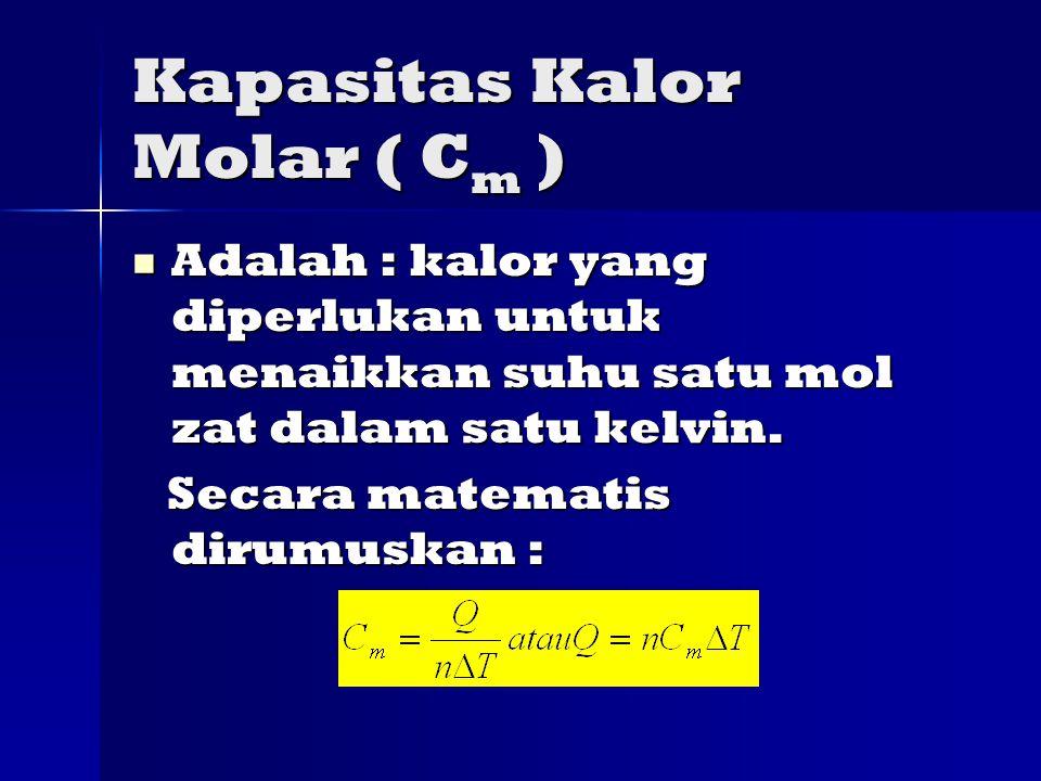 Kapasitas Kalor Molar ( C m ) Adalah : kalor yang diperlukan untuk menaikkan suhu satu mol zat dalam satu kelvin.