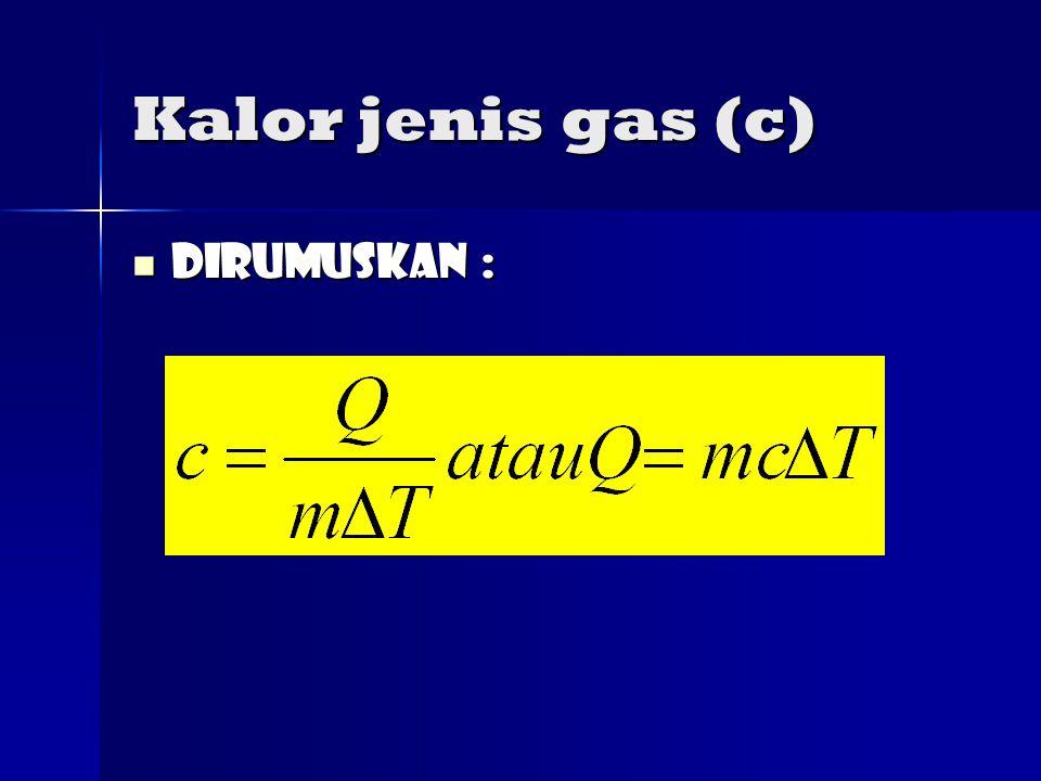 Kalor jenis gas (c) Dirumuskan : Dirumuskan :