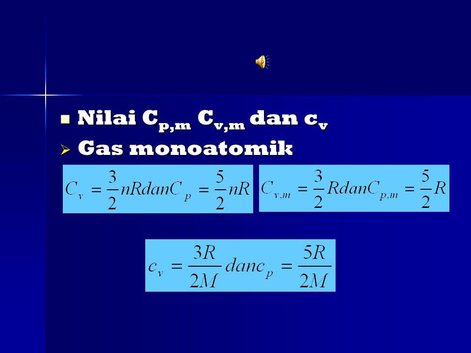 Nilai C p,m C v,m dan c v Nilai C p,m C v,m dan c v  Gas monoatomik
