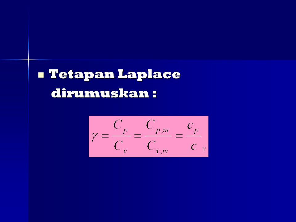 Tetapan Laplace Tetapan Laplace dirumuskan : dirumuskan :