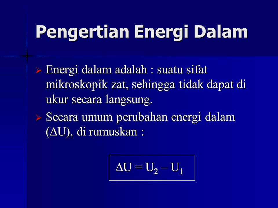 Pengertian Energi Dalam  Energi dalam adalah : suatu sifat mikroskopik zat, sehingga tidak dapat di ukur secara langsung.