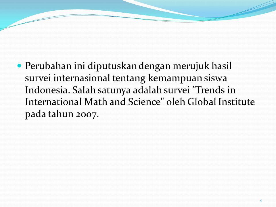 Perubahan ini diputuskan dengan merujuk hasil survei internasional tentang kemampuan siswa Indonesia.