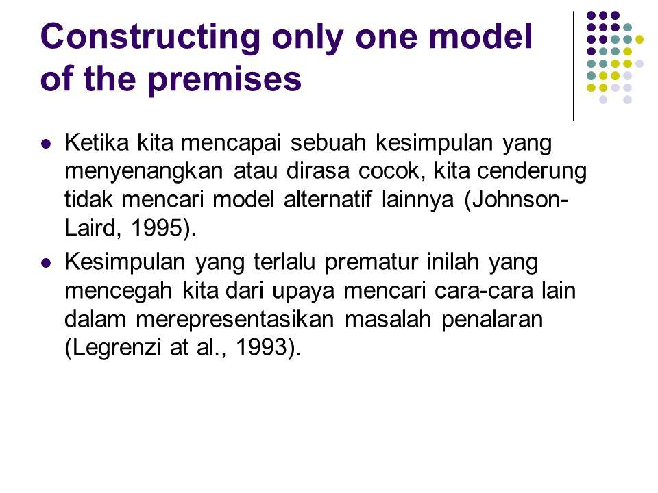Constructing only one model of the premises Ketika kita mencapai sebuah kesimpulan yang menyenangkan atau dirasa cocok, kita cenderung tidak mencari model alternatif lainnya (Johnson- Laird, 1995).