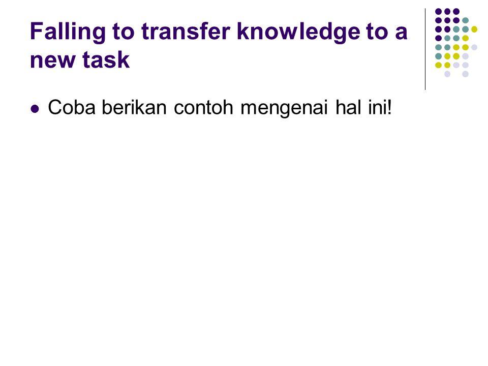 Falling to transfer knowledge to a new task Coba berikan contoh mengenai hal ini!