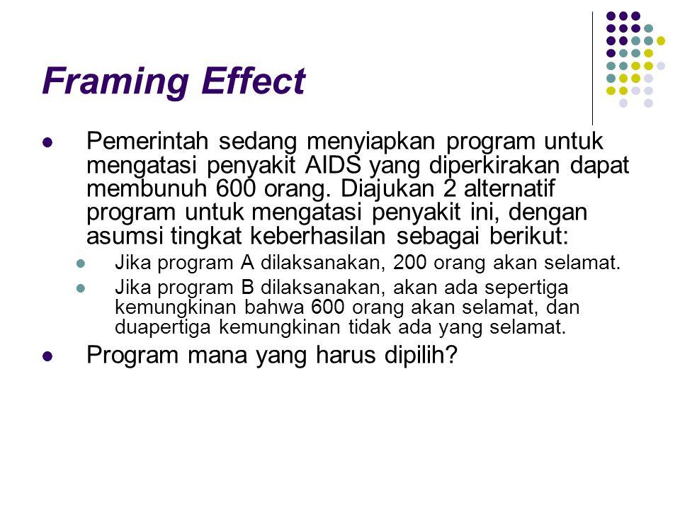 Framing Effect Pemerintah sedang menyiapkan program untuk mengatasi penyakit AIDS yang diperkirakan dapat membunuh 600 orang. Diajukan 2 alternatif pr
