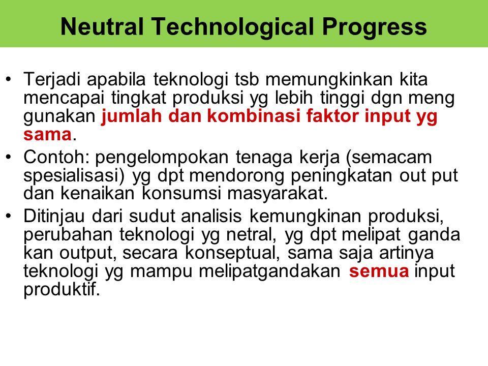 Neutral Technological Progress Terjadi apabila teknologi tsb memungkinkan kita mencapai tingkat produksi yg lebih tinggi dgn meng gunakan jumlah dan kombinasi faktor input yg sama.