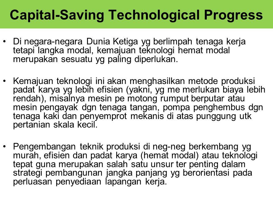 Capital-Saving Technological Progress Di negara-negara Dunia Ketiga yg berlimpah tenaga kerja tetapi langka modal, kemajuan teknologi hemat modal merupakan sesuatu yg paling diperlukan.