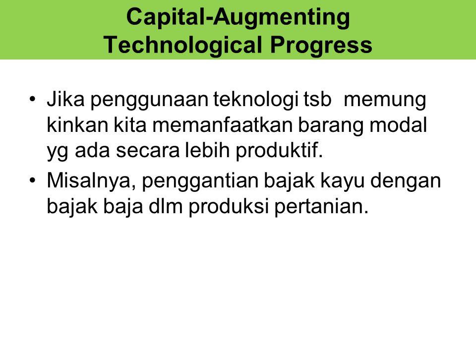 Capital-Augmenting Technological Progress Jika penggunaan teknologi tsb memung kinkan kita memanfaatkan barang modal yg ada secara lebih produktif.