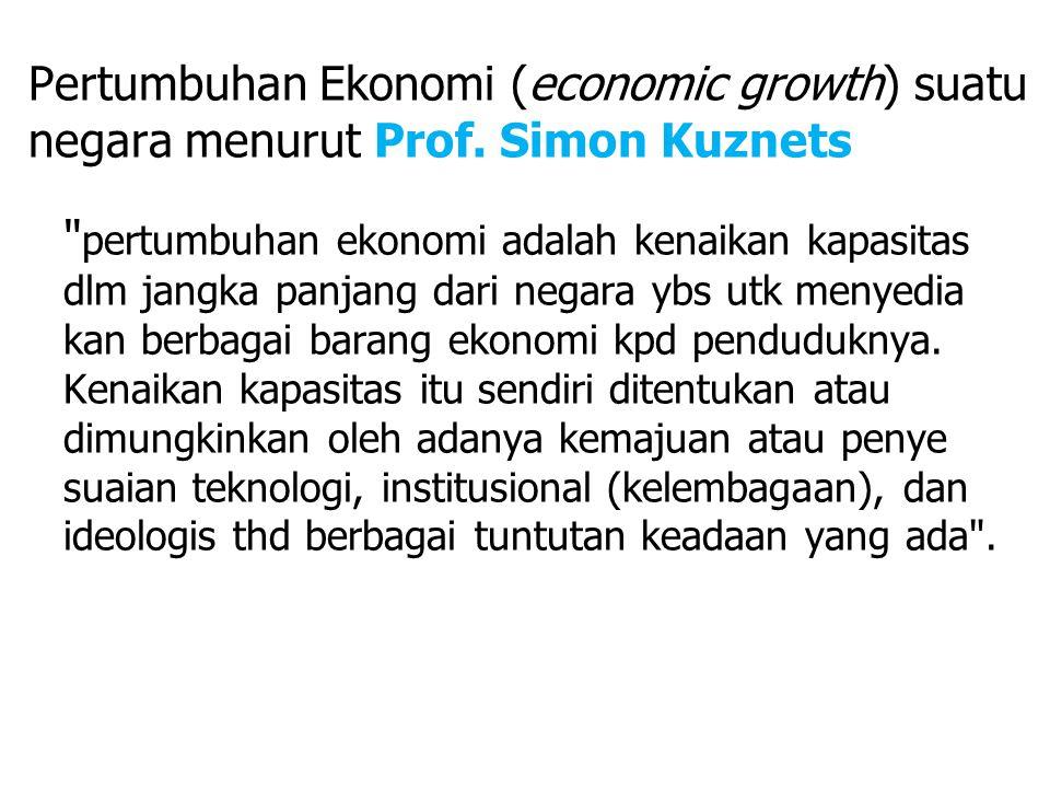 Pertumbuhan Ekonomi (economic growth) suatu negara menurut Prof.